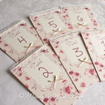 Vintage Floral Table Number